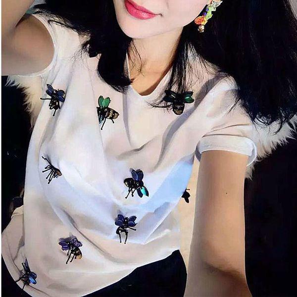 2018 Neue Frühling Sommer Mode Lose Sexy Brief Lippen Druck T-shirt Gestickte Biene Perle Pailletten Tops Freizeit Biene T-shirt Womens Shirts