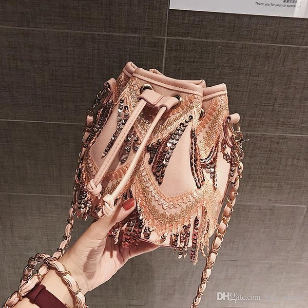 On discount!Fashion women lady Bags Shoulder Bags Cross Body high quality String designer Tassel chains Bucket totes free fast shipping
