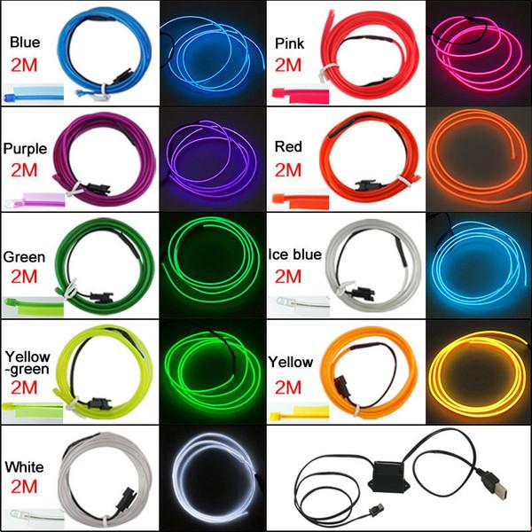 9 Farben 12V USB Power Inverter 2M Auto flexible Spritzguss EL Neon Glow Beleuchtung Seilstreifen mit Fin # 5769