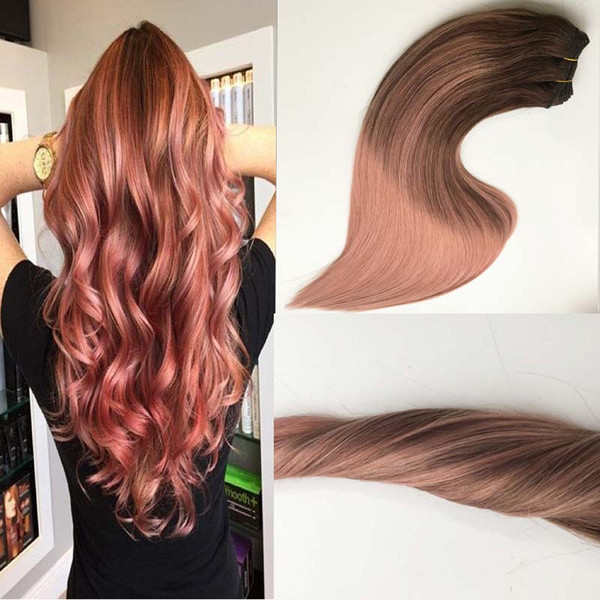 Brazilian Remy Hair 100% Human Hair Weft Balayage Ombre Color Darker Brown Fading to Rose Golden Straight Sew in Hair Bundles
