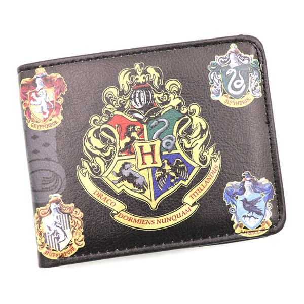 Harry Potter Anime Synthetic Leather Wallet Hogwarts School Short Card Holder Purse for Men Women Gift Money Bag