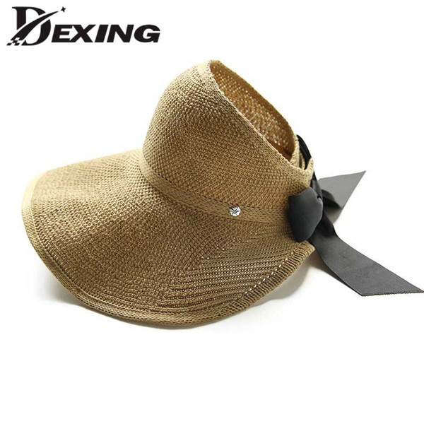 Spring Linen crochet Sun Hat Bow Summmer Wide Brim Floppy Hat for Women Korean Visor Fashion Beach Ladies Travel Fold Cap