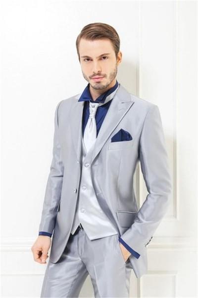 2019 Silver Wedding Suits For Men Tuxedos Daily Work Wear Elegant Men Suits Business Men Prom Blazer (Coat+Pants+Tie+Vest)