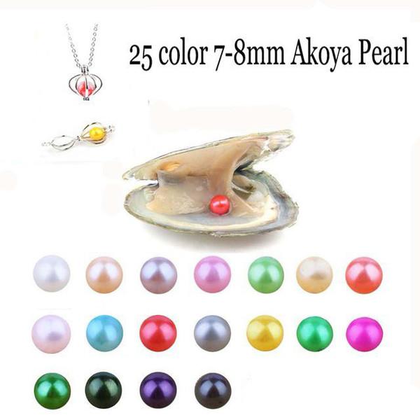 2019 Akoya perla de 7-8m m Oyster nueva 25 color de la mezcla de agua dulce del regalo DIY de la perla natural suelta granos al por mayor Decoración de vacío Embalaje