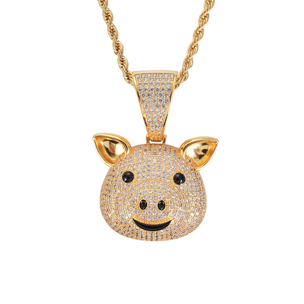 High Quality Hiphop Jewelry Animal Pig Pendant Iced Out Cubic Zircon Stone Collier Gold Men's Necklace