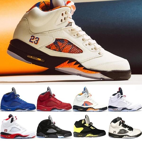 С коробкой высокого качества Атласные Бред Fresh Prince 5 Wings 5s PSG Black Men Баскетбол обувь Retros Og White Grape Space Jam Мужские кроссовки спорта