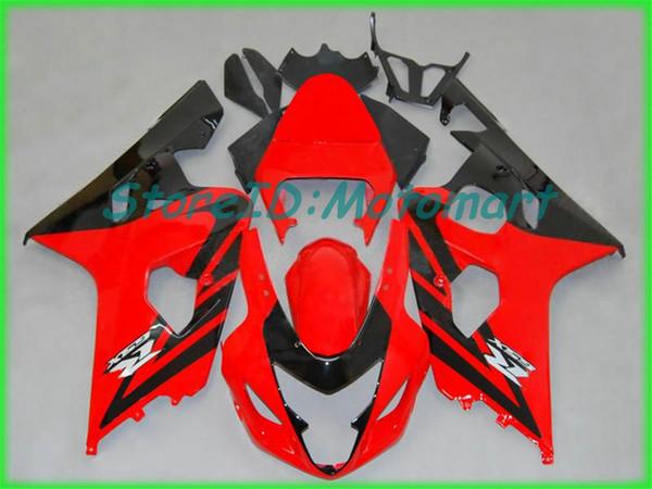 SUZUKI GSXR600 için motosiklet Fairing kiti 750 K4 04 05 GSXR 600 GSXR 750 2004 2005 Kırmızı gümüş siyah Fairings seti SF50
