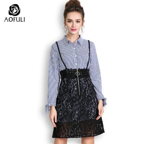 2019 AOFULI Plus Size Dress Suits Women Two Piece Skirt Set Autumn Long  Sleeve Shirt Dress Outfit Lace Skirt Twinset L 4XL 5XL A3683 From  Panacloth, ...