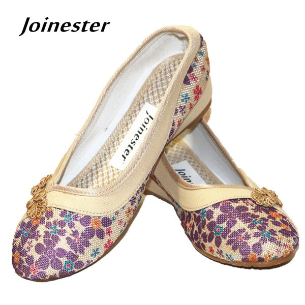 Shoes Spring/Autumn Retro Ethnic Floral Hemp Casual Women Pumps Shoe with Chinese Traditional Button Round Toe Lady Shoe TPR Outsole