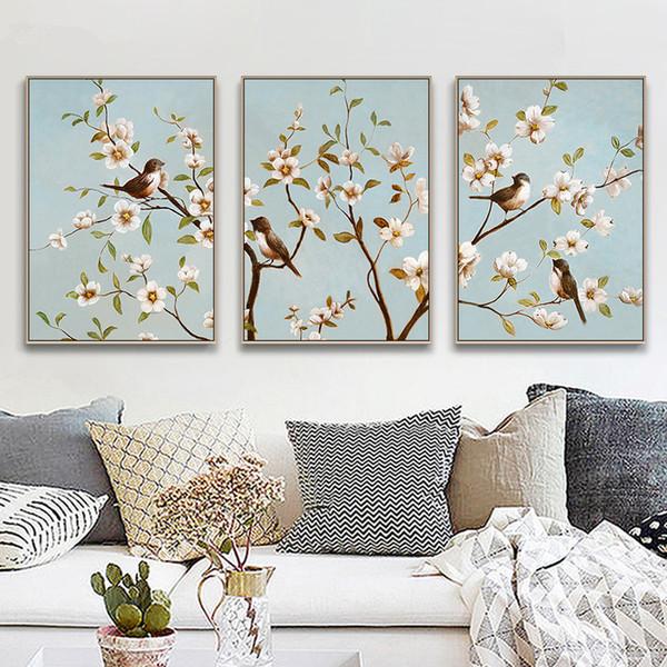 Novo estilo chinês Filiais Birds Flowers Poster and Prints Canvas Cópia da pintura da arte da parede Pictures para Living Room Home Decor