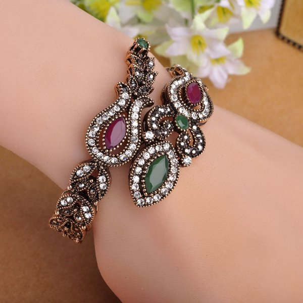 Latest Vintage Women Party Bangles Antique Gold Red Acrylic Lily Flower Bracelets Full Crystals Turkish Bijuteria Jewelry
