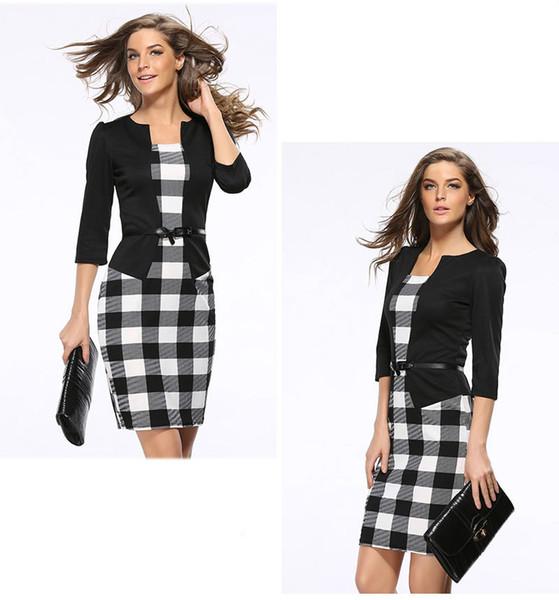 Siyah Ekose Profesyonel Elbise Yanlış Iki Parçalı Kalem Elbise Uzun Kollu İş Takım Elbise Elbiseler Etek Kadın Giyim Damla Nakliye