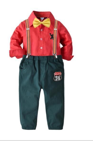 Новые Популярная рубашка Tie длинного рукава платье детей Рождество костюм Мальчик и пояса брюк вчетвером костюм фабрика прямых продажи