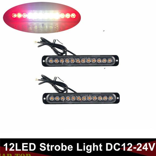 2PCS Işıklar Kamyon Kırmızı Beyaz 12 LED Acil LED Araç Strobe Flaş Uyarı Light Bar Gümrükleme Fragman 12V / 24V Işıklar