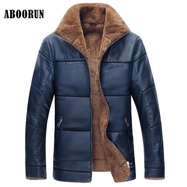 ABOORUN Plus Size 8XL New Winter Leather Jacket 2017 Mens Warm PU Leather Fleece Parkas Coat P9054