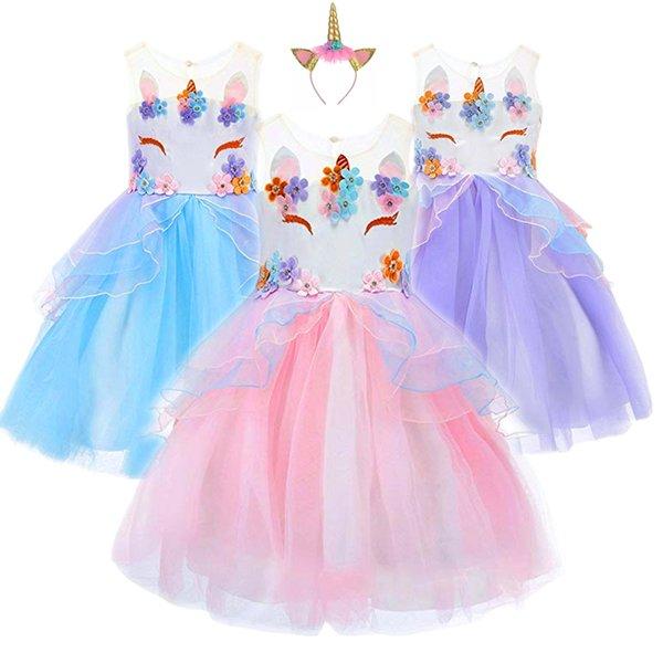 Compre Fancy Kids Unicornio Vestido De Tul Para Niñas Bordado Vestido De Bola Niña De Flores Princesa Vestidos De Fiesta De La Boda Trajes Unicornio