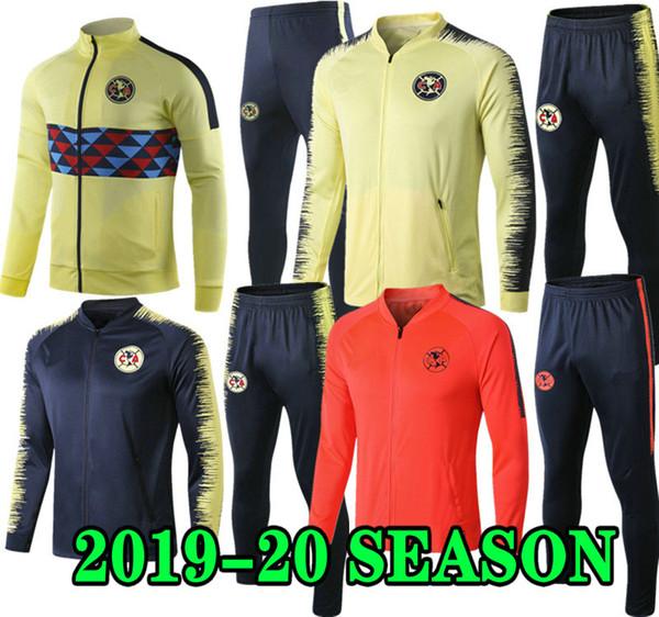 GIOVANI 19 20 América jaqueta de treinamento terno kits G. Dos Santos camisa de futebol 2019 2020 clube do México Laranja Camisas De Futebol Amarelo