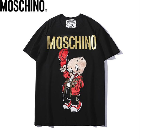 19 years of explosion Men Designer T shirts Fashion High Density Embroidery Cartoon pig T-shirt Brand Stamping Printing Letter Tops Tees