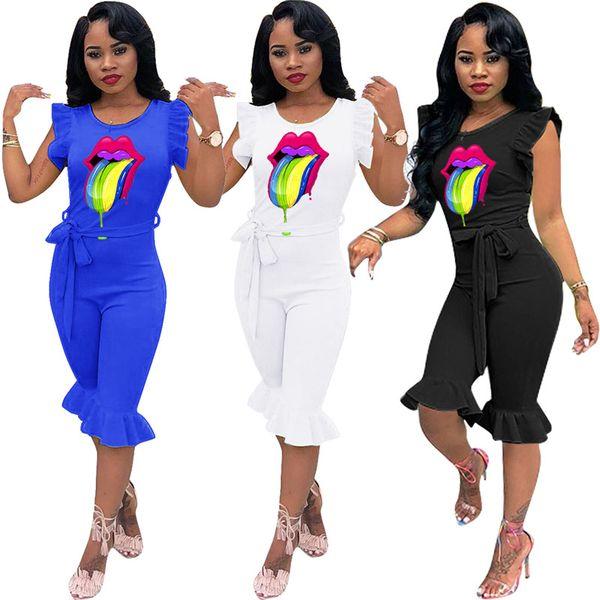 Tuta da donna Tuta da donna Manica a petalo Pantaloni medi con balze Pantaloni estivi siamesi Tute sexy Tute pagliaccetti Clubwear 2019 S-XL C72504