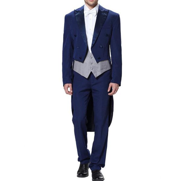 Blue Grooms Tuxedos Peaked Lapel Wedding Suits For Men Three Piece Prom Fashion Groom Mens Suit ( Jacket+Pants+Vest+Tie)