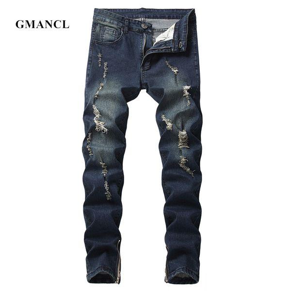 New Men Dark blue & black Vintage Holes biker Jeans Streetwear Hip hop Ripped Destroyed Motorcycle Men High stretch Denim pants