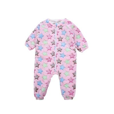 2018 warm cute Children's home clothes baby clothes Siamese pajamas coral velvet Autumn and winter boys sleeping bags Children's baby romper