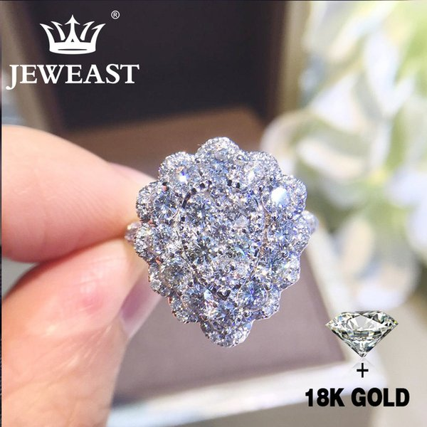 Natural Diamond 18k Gold Pure Gold Ring Beautiful Gemstone Ring Good Upscale Trendy Classic Party Fine Jewelry Hot Sell New 2018 S625