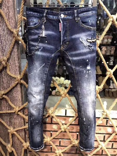 Italie D2019 mode nouveaux hommes pantalons en denim haut de gamme vente chaude personnalité Slim pieds micro-élastiques occasionnels pantalons 19 A223