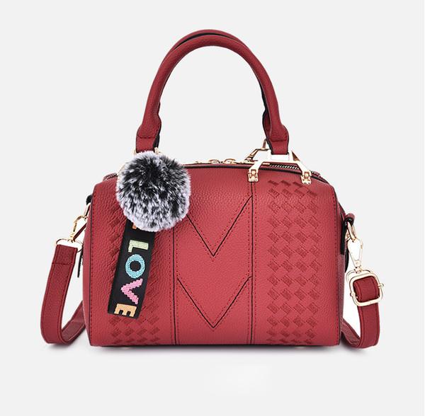 Trendy Boston bag new 2019 summer fashion patchwork women's bag MAO ball pendant handbag single-shoulder bags#13