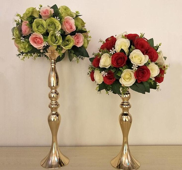 top popular 32cm 38cm 50cm Height Metal Candle Holder Candle Stand Wedding Centerpiece Flower Rack Road Lead gold and silver 2021