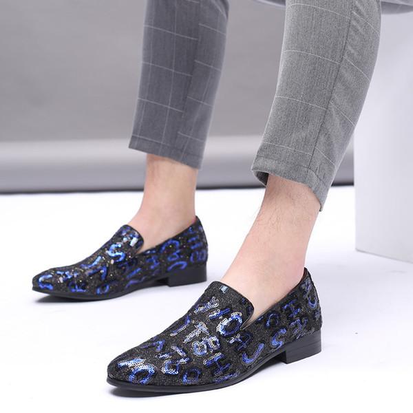 38-48Max Code Italienne Gentlemen's Souliers Décontracté Style coréen britannique Jeunes chaussures en cuir lettre paillette tout-allumette Chaussures hommes