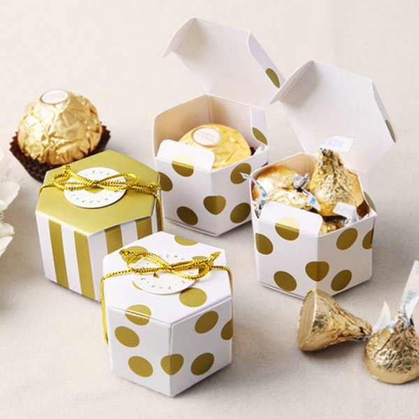 High End Paper Chocolate Boxes Hexagon Mini Biscuits Candy Box Lovely Gold Round Dot Gold Striped Organizers 0 4hy BB