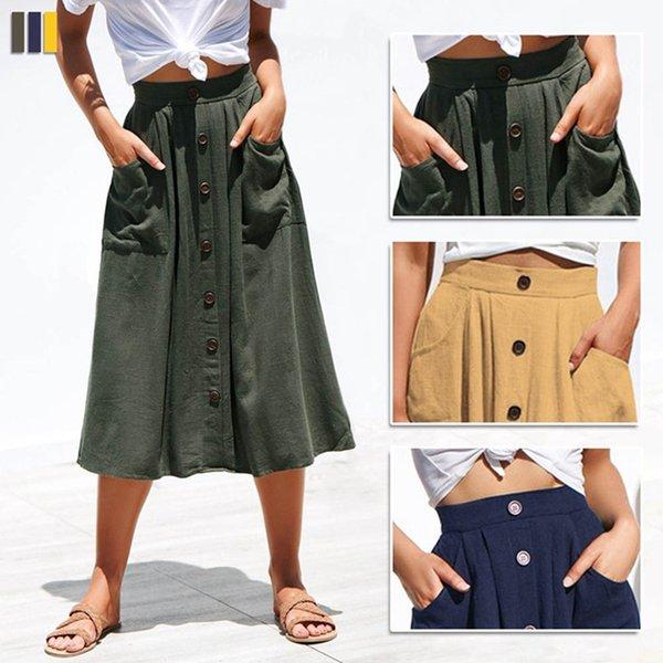 551c0e38dd Nueva primavera una línea de falda plisada de las mujeres a media pierna  longitud elegante coreana faldas de cintura alta botón femenino bolsillo  falda ...