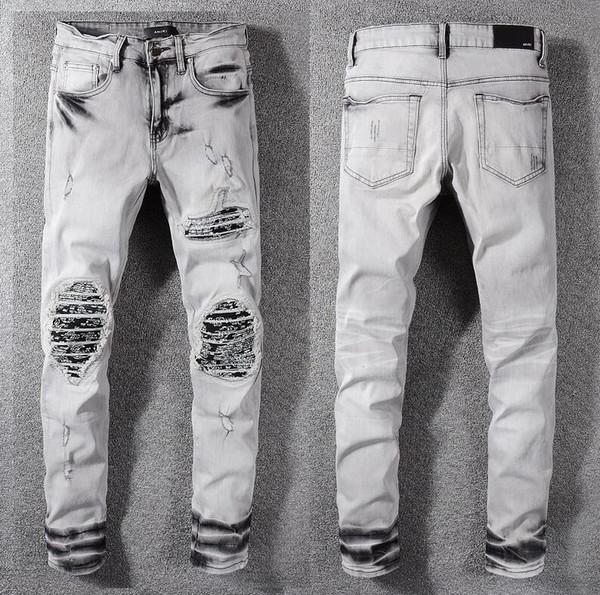 AMIRI jeans para hombre pantalones de diseñador marca de high street marea pantalones vaqueros humo gris pies pantalones medias de calidad superior agujero parche pantalones de mezclilla hombres pantalón casual
