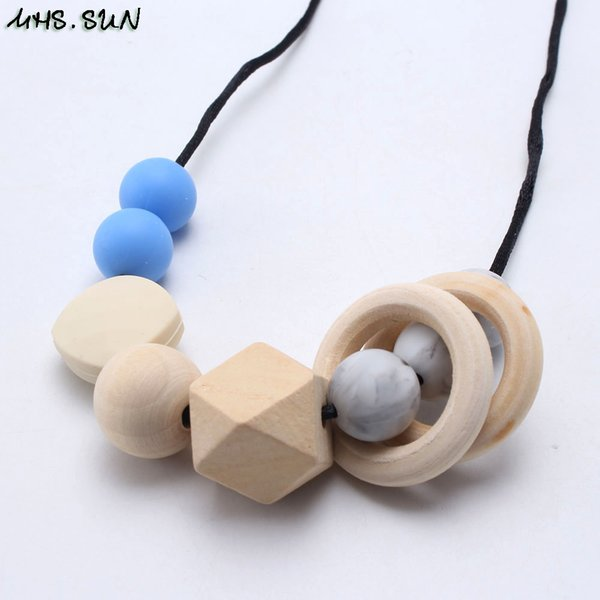 wholesale Baby Wooden Round Beads Silicone Necklace Clasp Safe Chewable Nursing Necklace Mommy Gift Decorative Teething Jewelry