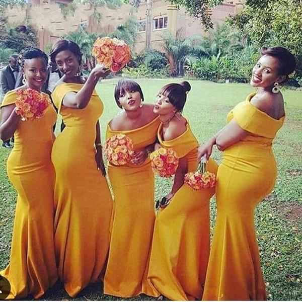 2018 barato de Sudáfrica Nigeria sirena vestidos de dama Apagado Hombro piso-longitud dama de honor vestidos de boda para el partido por encargo