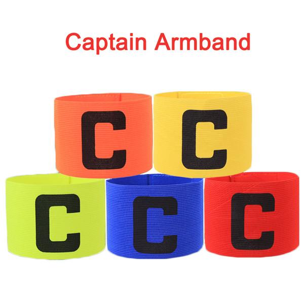 top popular Hot Sales Football Soccer Captain Armband Elastic Fabric Captain's Armband Player Bands for Adult Futbol Practice Camp School Soccer Team 2021
