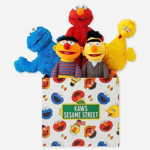 Brandnew Sesame Street Wholesales KAWS 5 modèles en peluche Jouets ELMO / BIG BIRD / ERNIE / MONSTER farcie meilleure qualité Grands cadeaux pour les enfants
