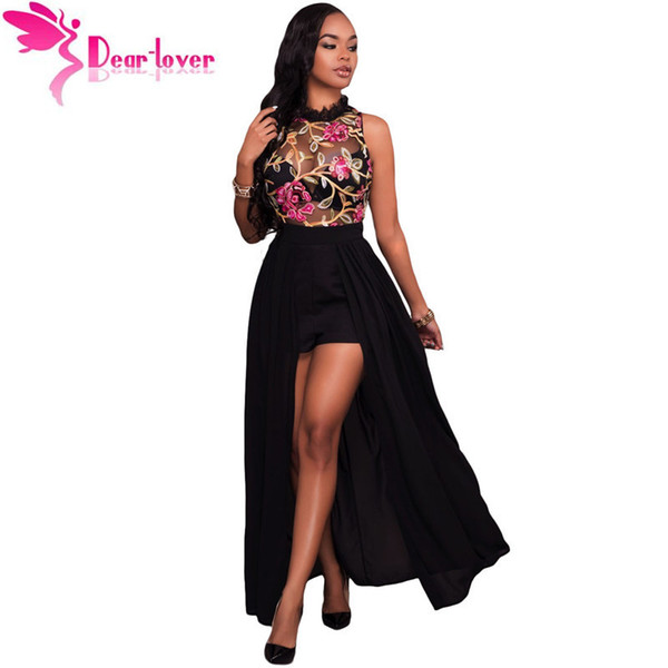 Dear-lover Long Jumpsuits Summer Short Overalls Black Sheer Mesh Embroidery Sleeveless Chiffon Club Party Womens Rompers Lc64265 Y19071801