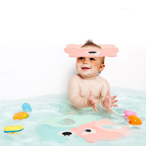Cartoon Solid Resizable Shampoo Cap Soft Plastic Bathing Shower Cap EVA Foam Babies Shower Baby Ear Protection Baby Care