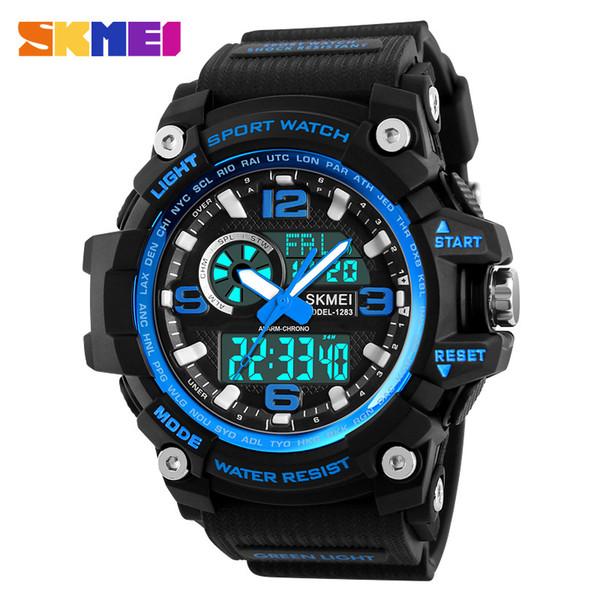 2018 SKMEI Sports Watches Men Quartz Three Time Countdown Chronograph LED Digital Military Watch Waterproof Wristwatches Clock
