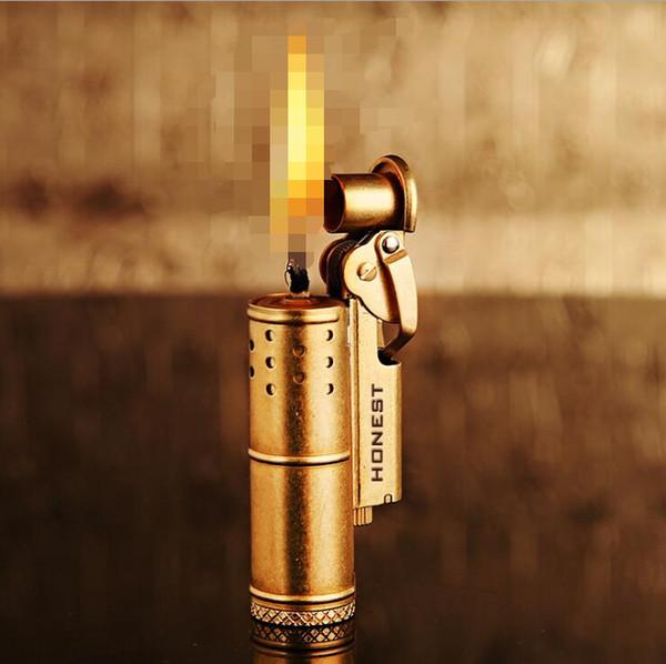 Orijinal DÜRÜŞ retro vintage siper yağ çakmak Tüm bakır malzeme ateşleme nostaljik altın gümüş hediye kutusu ile çakmak Noel