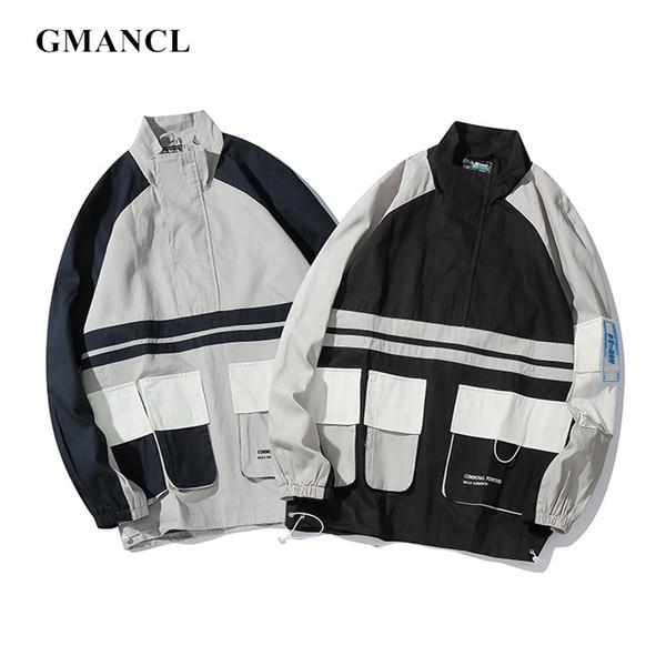2019 Hombres Multi-bolsillo Pullover Chaquetas rompevientos Streetwear Harajuku estilo Bloque de color Patchwork Casual Chaquetas de carga Abrigos