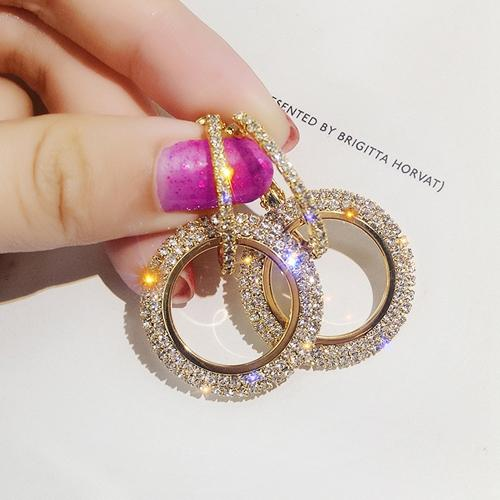 top popular New Rhinestone Korean Fashion Hollow-out Round Drop Earrings Women Luxury Crystal Female Party Gold Silver Trend Earrings Brinco 2021
