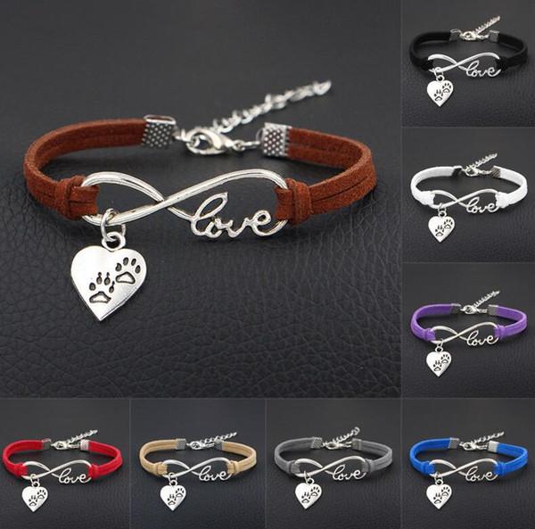 Vintage Silver Bear Cat Dog Paw Print Heart Charms Bracelet Bangle For Men Women Mixed Color Velvet Rope Friendship Cuff Bracelets Jewelry