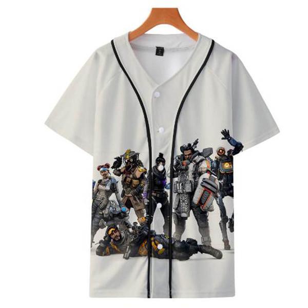 APEX Legends 3D Impression Baseball T-shirts Femmes / Hommes Mode T-shirts D'été À Manches Courtes 2019 Vente Chaude Casual Streetwear Basebll Tee Top