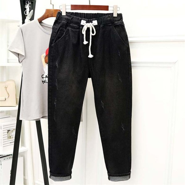 Siyah Kot Kadınlar Yüksek Waisted Denim Harem Pantolon Lace Up Plus Size 5XL Anne Jeans Casual Streetwear Boyfriend Femme Q1337