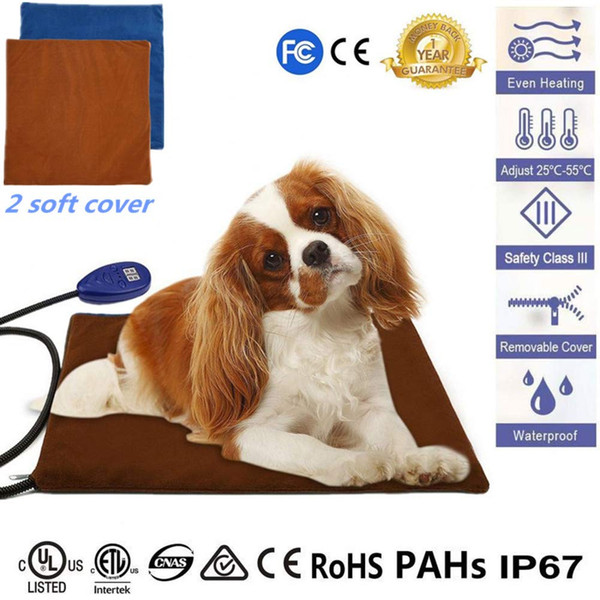 Pet Heating Pad For Dogs And Cats, DC12V 18W Electric Pet Heated Bed Mat 7 Grade Temperature Adjustable Waterproof Anti-bite