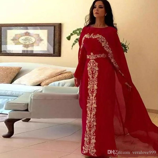 Elegant Arabic Red Evening Dresses With Cape Jewel Neck Gold Lace Appliques Prom Gowns Chiffon Formal Special Occasion Wear