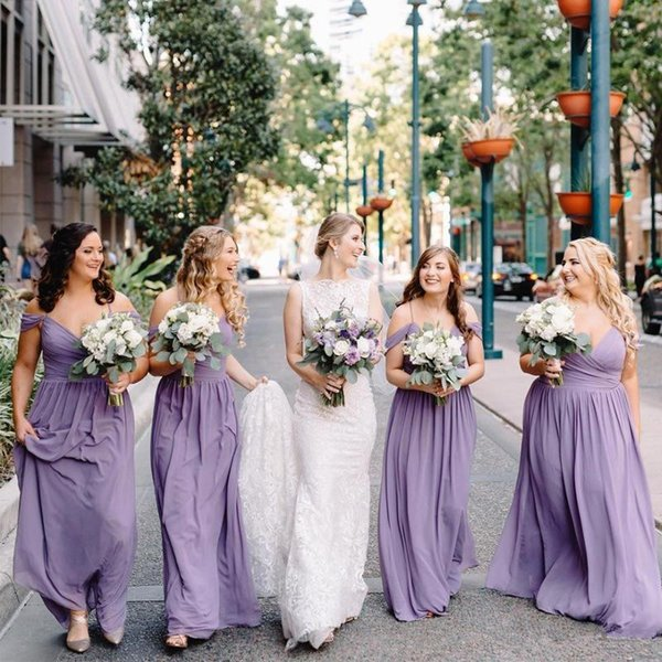 Bohemian A Line Long Lavender Bridesmaid Dresses Plus Size Off The Shoulder  Pleats Chiffon Country Wedding Guest Party Dresses Green Bridesmaid Dress  ...